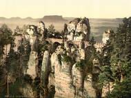 Die Bastei mit Aussichtspunkt zwischen 1890 und 1900