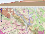Eisenbahnstrecke Dresden-Prag: Längsschnitt und Route einer Streckenvariante mit der Geologischen Übersichtskarte GÜK400 (LfULG Sachsen)