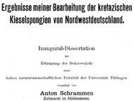 Dissertation von A. Schrammen zu den Kreideschwämmen von Norddeutschland